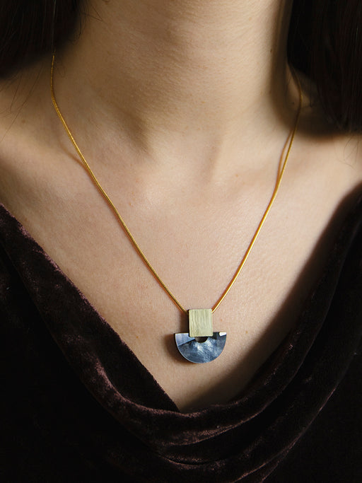 Marina Necklace in Blue Mother of Pearl