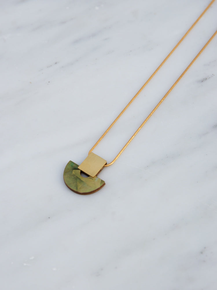 Marina Necklace in Olive Mother of Pearl