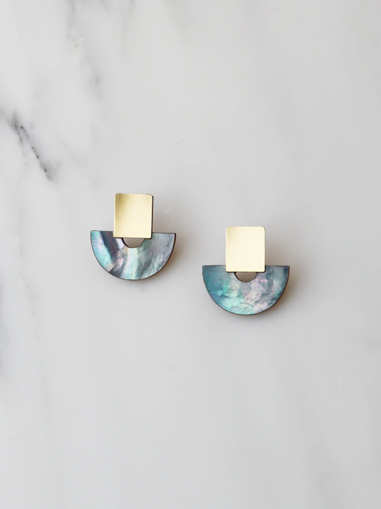 Marina Studs in Blue Mother of Pearl