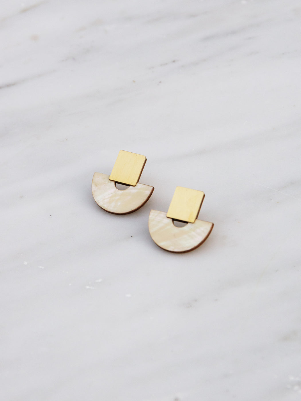 Marina Studs in Mother of Pearl - Clip-on