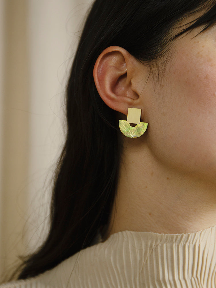 Marina Studs in Olive Mother of Pearl