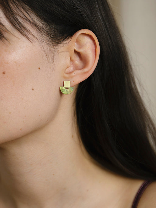 Mini Marina Studs in Olive Mother of Pearl