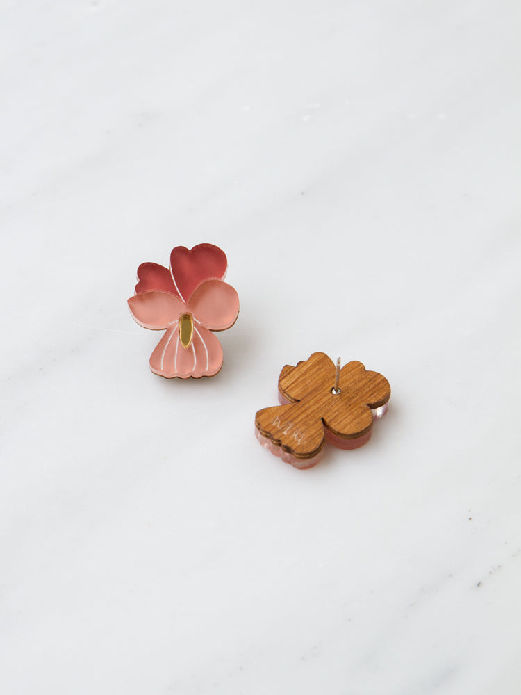 Mini Pansy Studs in Dark Coral *Limited Edition*