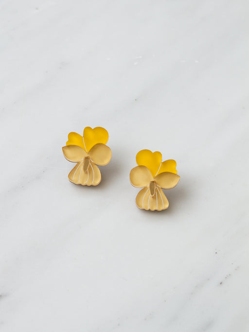 Mini Pansy Studs in Yellow *Limited Edition*