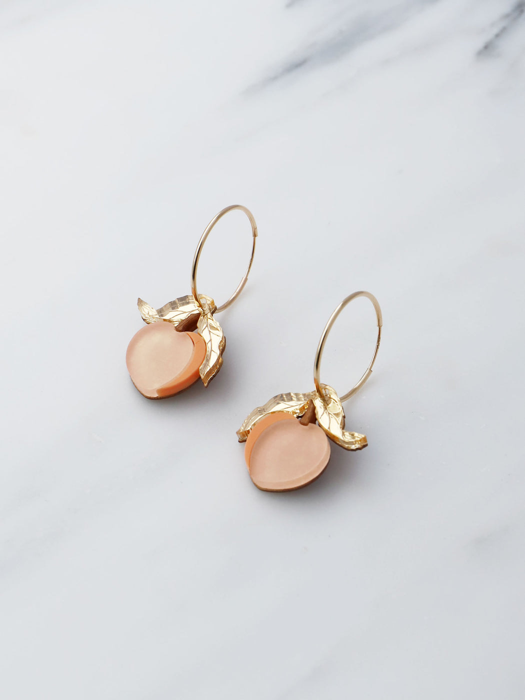 Peach Hoops. Statement jewellery, handmade in the U.K. by Wolf & Moon.r