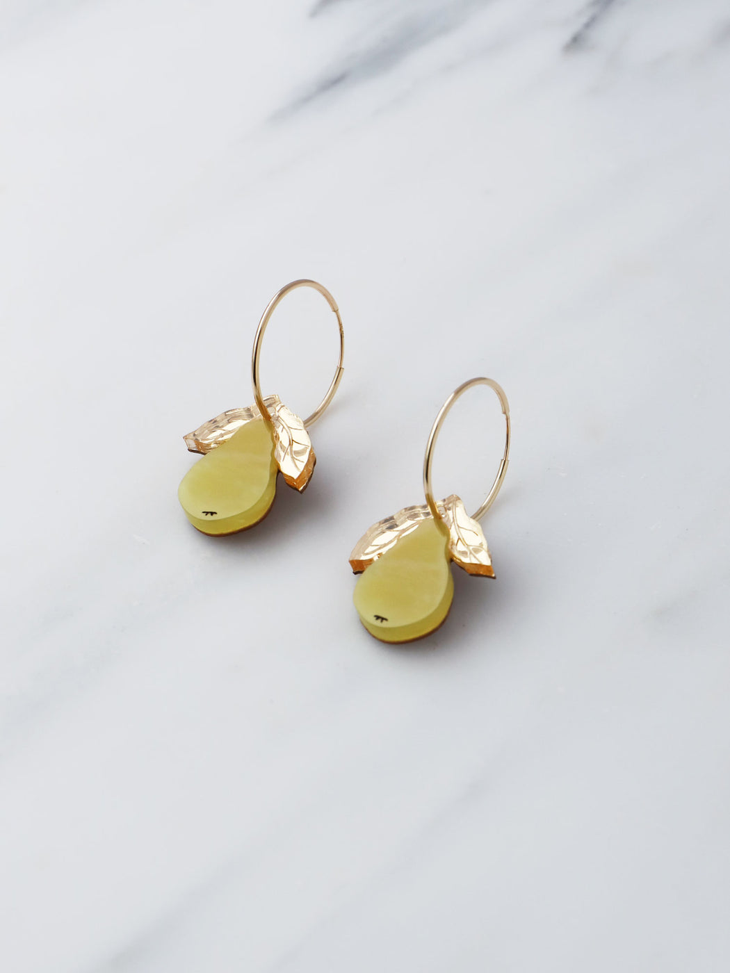 Pear Hoops. Statement jewellery, handmade in the U.K. by Wolf & Moon.r