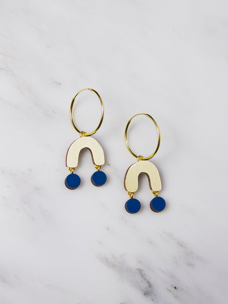 Cobalt Blue Miro Hoops by Wolf & Moon