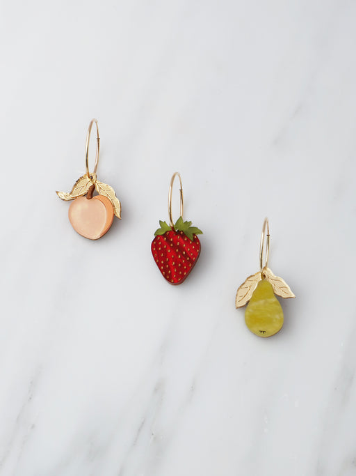 Mixed Fruit Hoops | The Garden Collection | Laser-cut acrylic jewellery | Handmade in North London.