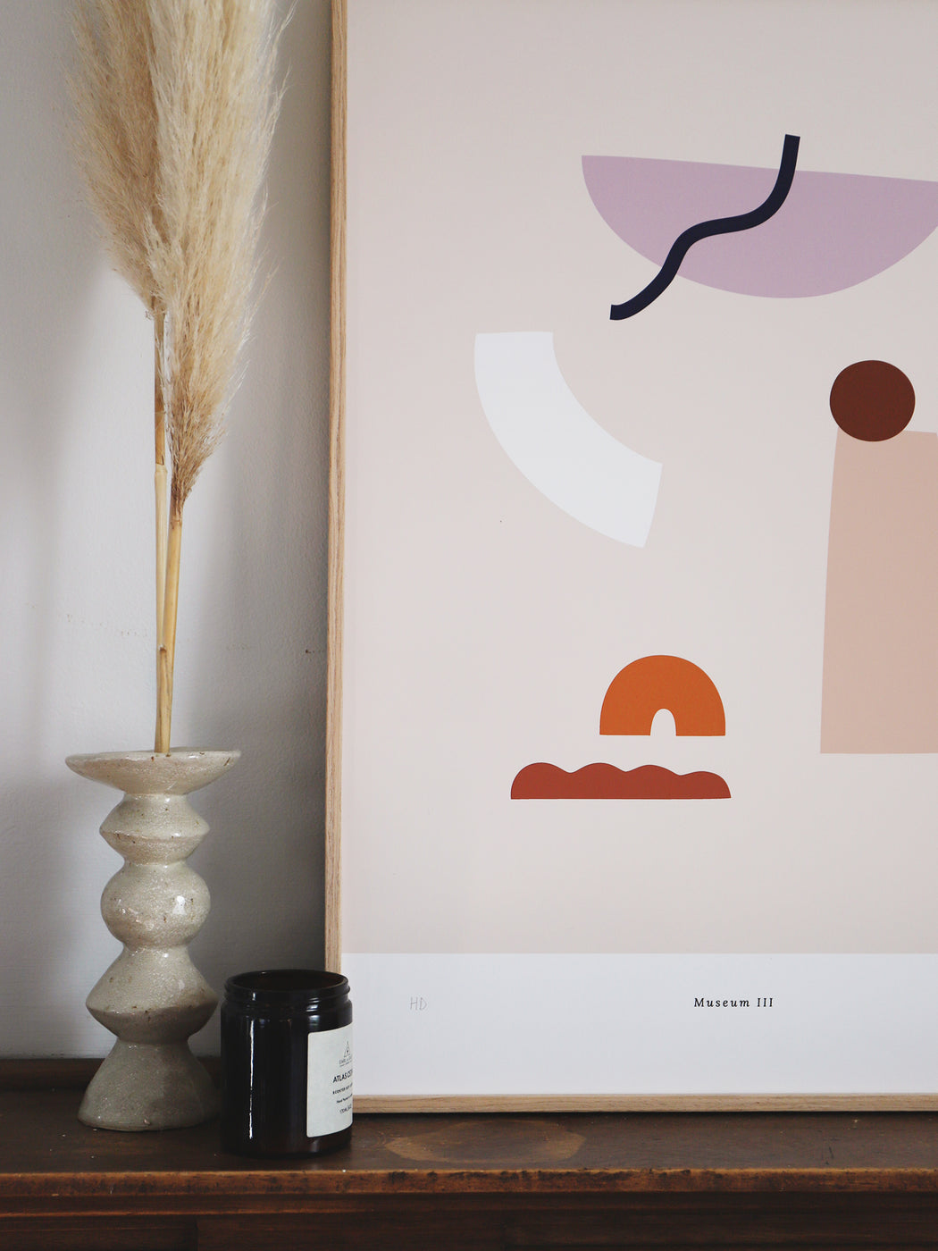 High quality giclée fine art print on 210gsm smooth matt paper.  Abstract print with shapes inspired by artefacts and objects found at a museum.