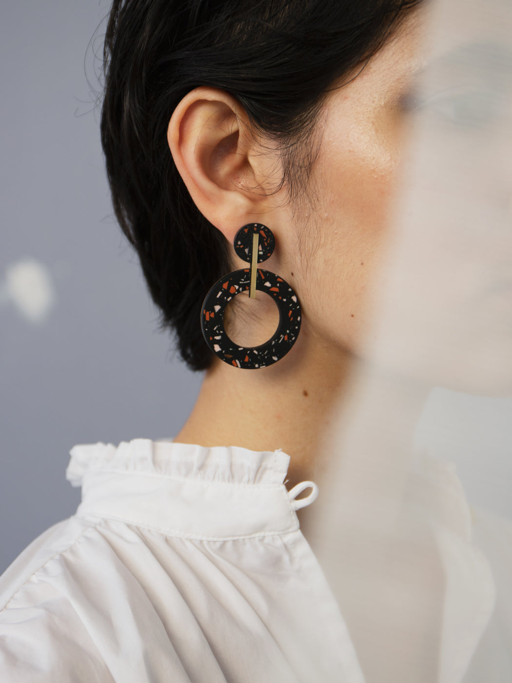 Oda Earrings in Sage Jesmonite - Seconds