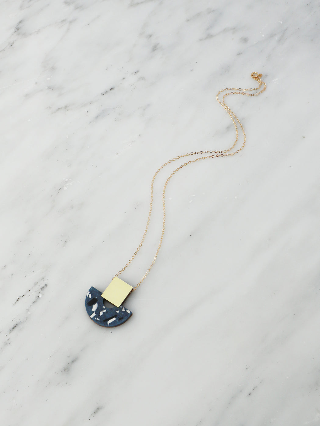 Odette Necklace in Dark Blue Jesmonite