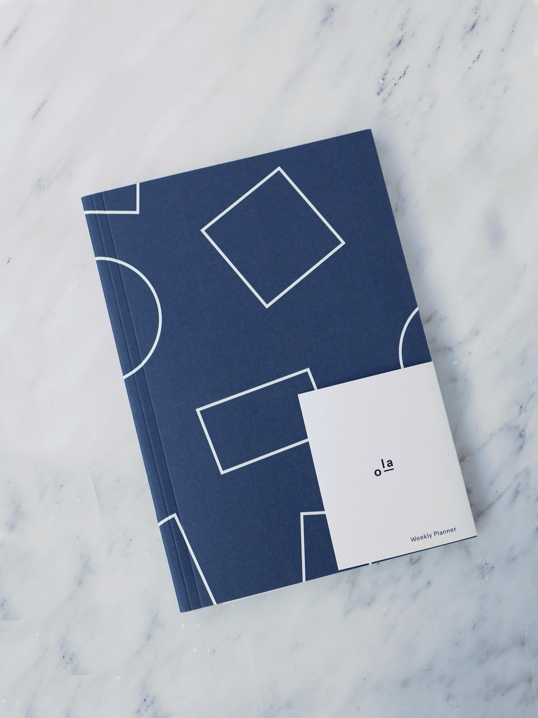 A5 Layflat Week Planner in Navy Shapes Print