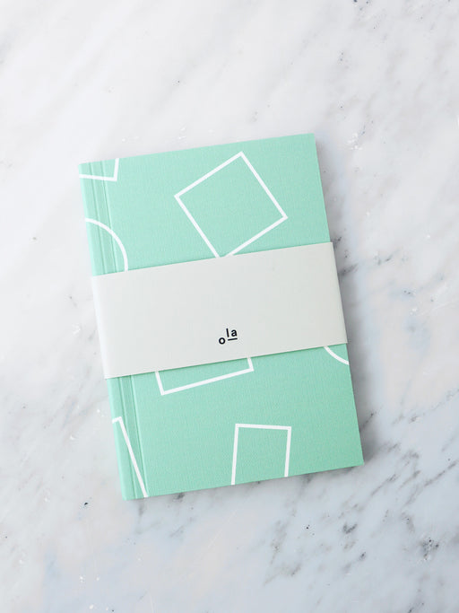 A6 Notebook in Mint Shapes Print
