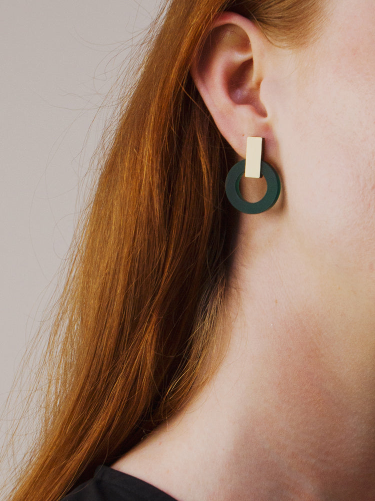 Orbit Earrings in Dark Green