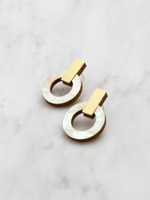 Orbit Earrings in Mother of Pearl