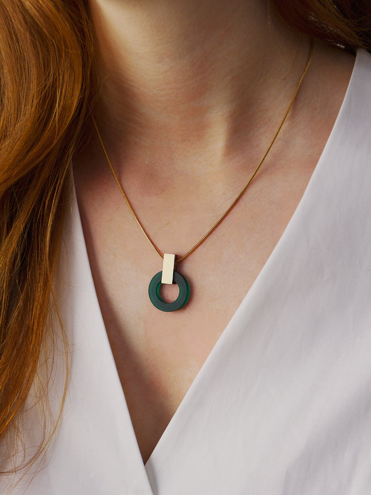 Orbit Necklace in Dark Green