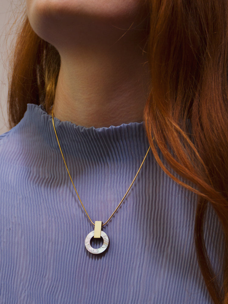 Orbit Necklace in Mother of Pearl