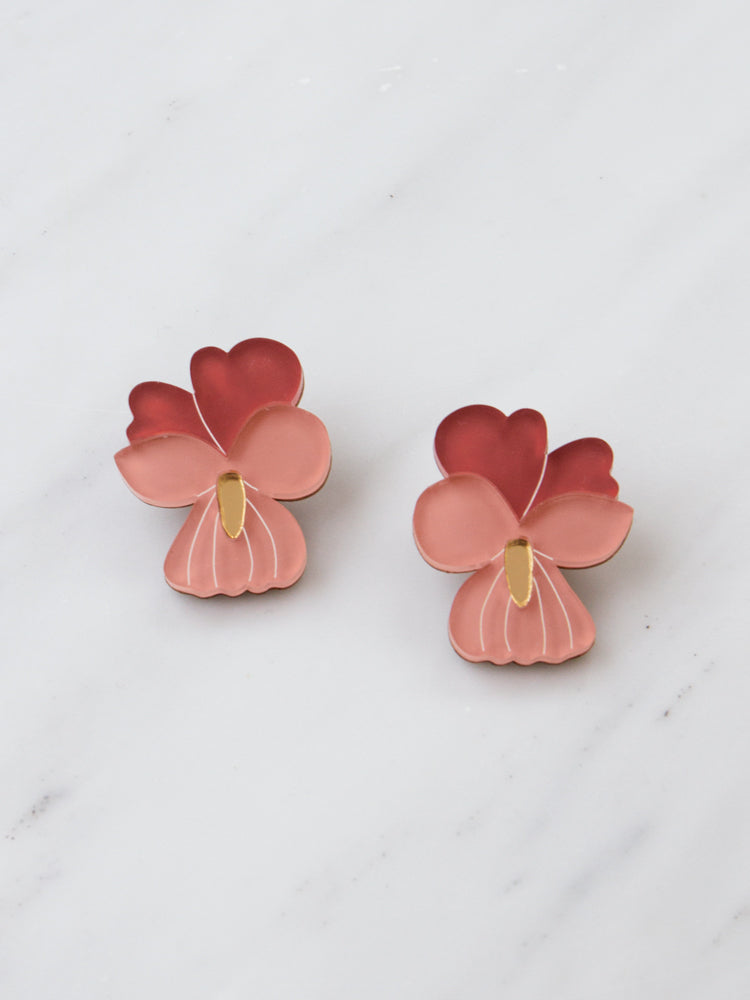 Pansy Earrings in Dark Coral *Limited edition*