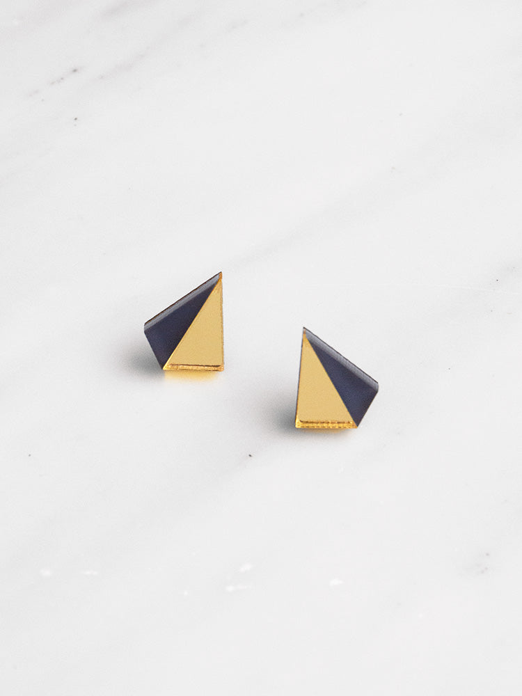 Little Pyramid Studs in Gold & Navy
