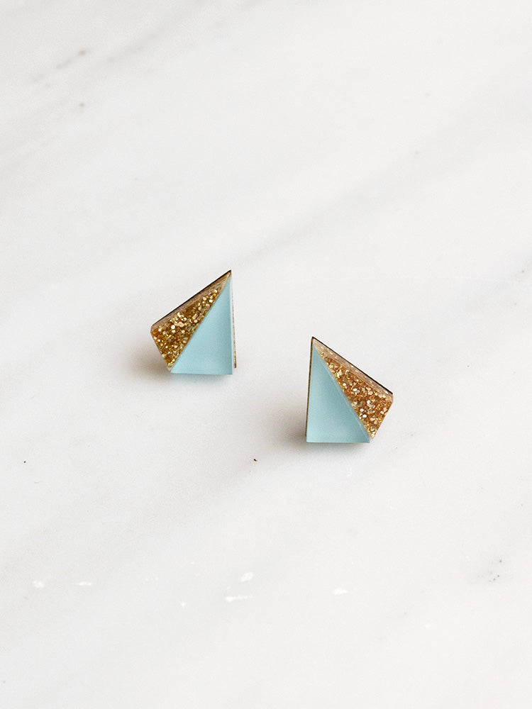 Little Pyramid Studs in Pale Blue & Gold Glitter