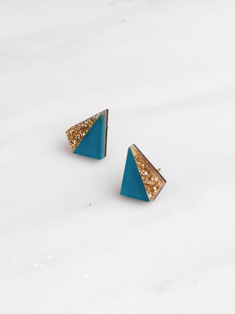 Little Pyramid Studs in Teal & Gold Glitter