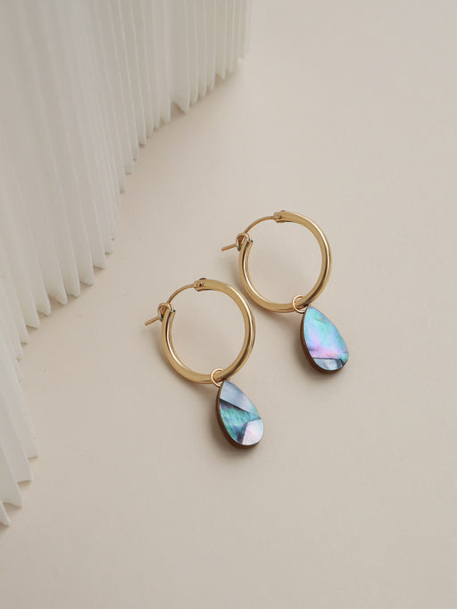 Raindrop Hoops in Blue Mother of Pearl - Gold. Original jewellery handmade in the U.K. by Wolf & Moon.