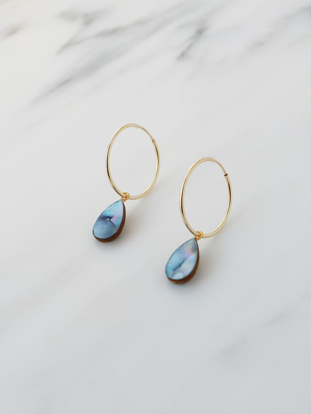Raindrop Hoops in Blue Mother of Pearl