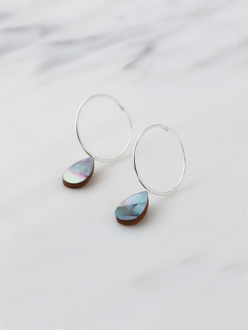Raindrop Hoops in Blue Mother of Pearl- Silver