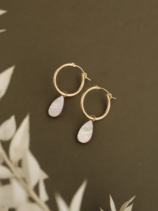 Raindrop Hoops in Mother of Pearl - Gold. Original jewellery handmade in the U.K. by Wolf & Moon.