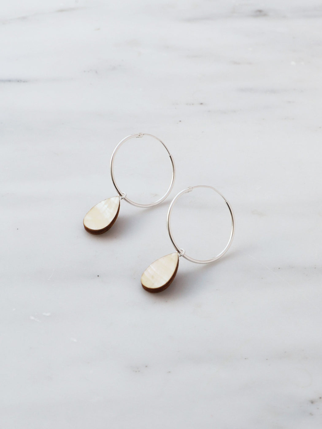 Raindrop Hoops in Mother of Pearl - Silver