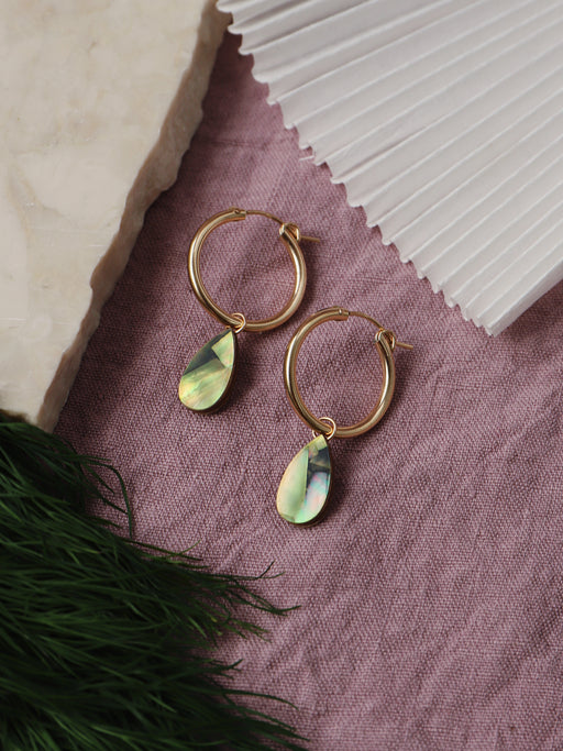 Raindrop Hoops in Olive Mother of Pearl - Gold. Original jewellery handmade in the U.K. by Wolf & Moon.