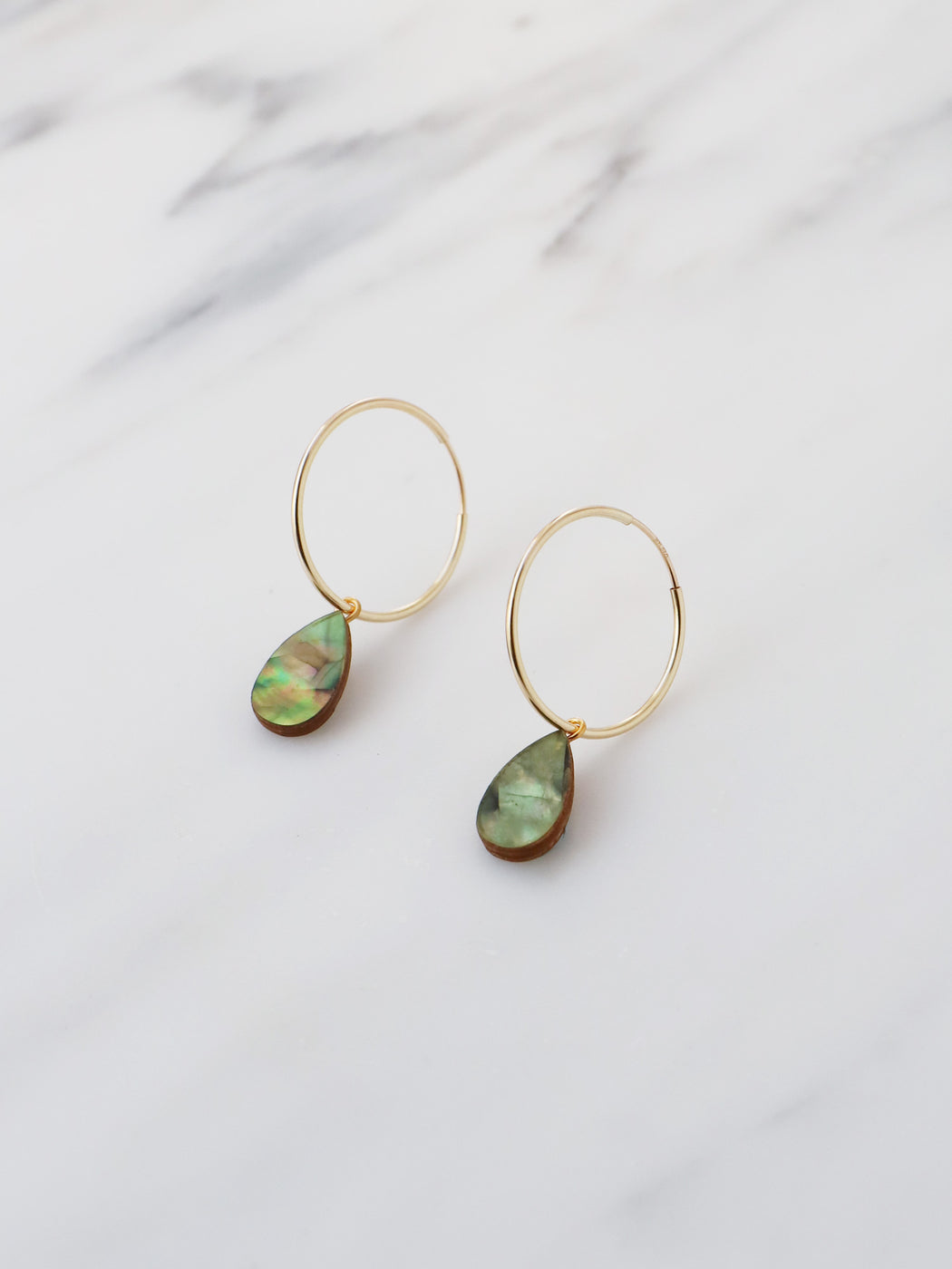 Raindrop Hoops in Olive Mother of Pearl