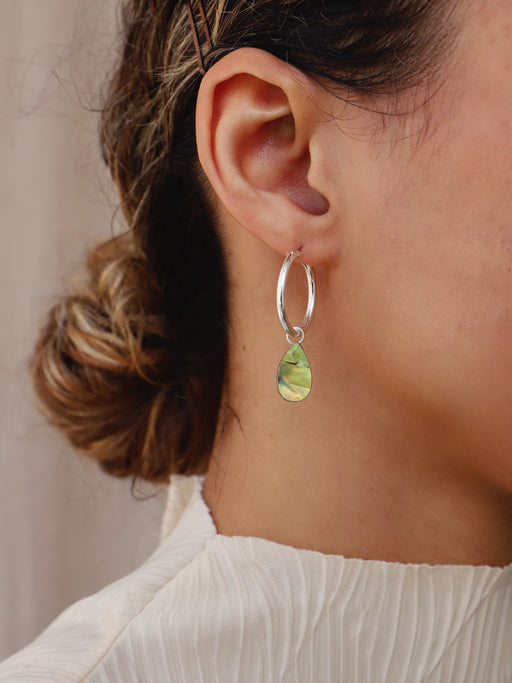 Raindrop Hoops in Olive Mother of Pearl - Silver. Original jewellery handmade in the U.K. by Wolf & Moon.