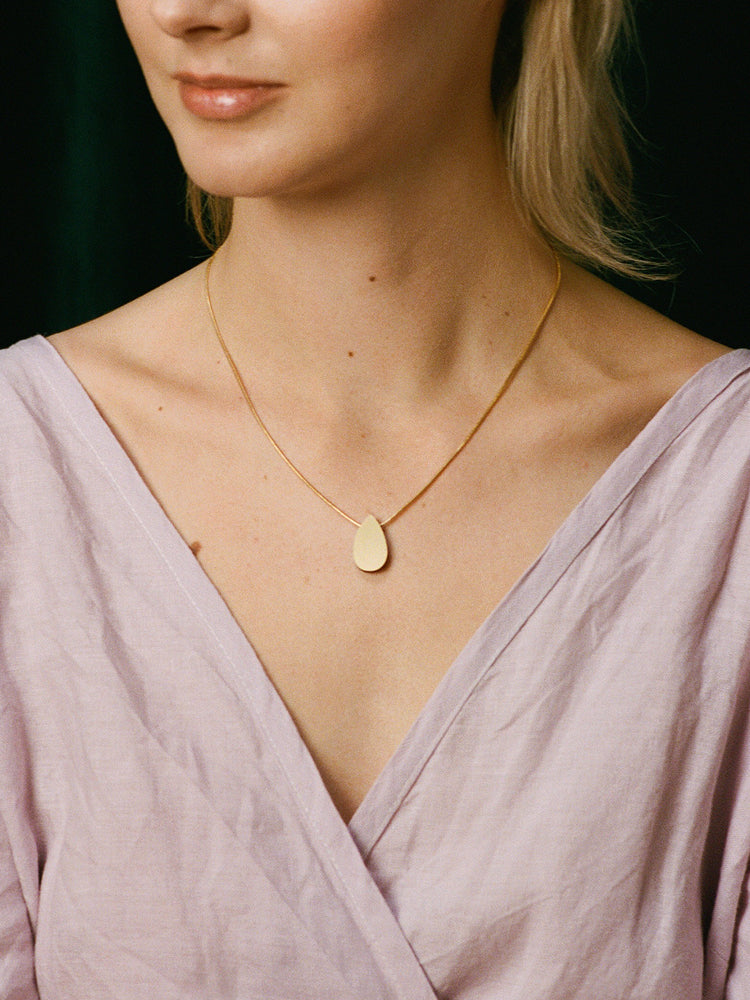 Raindrop Necklace in Brushed Brass