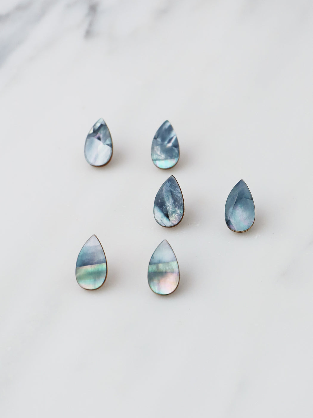 Raindrop Studs in Blue Mother of Pearl