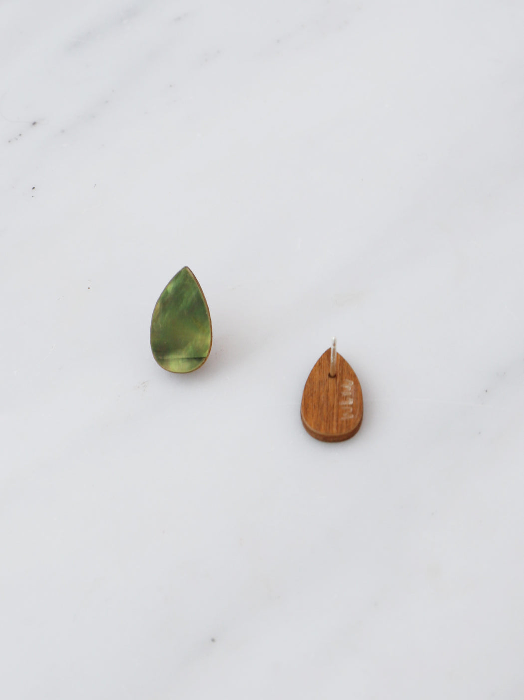 Raindrop Studs in Mother of Pearl. Statement jewellery, handmade in the U.K. by Wolf & Moon.r