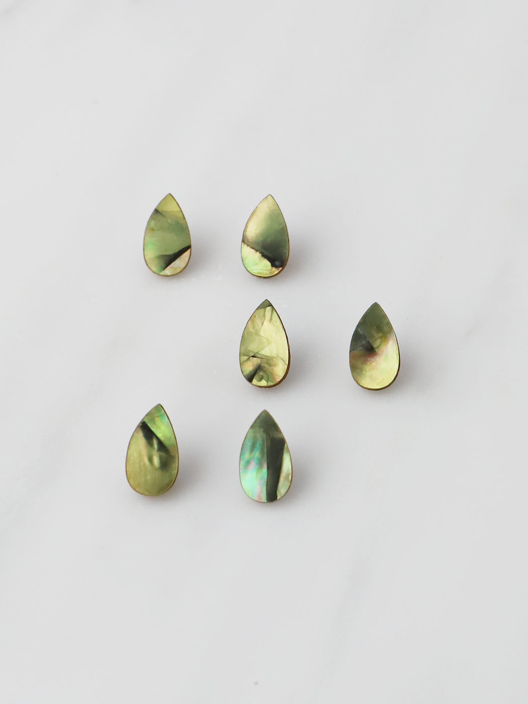 Raindrop Studs in Olive Mother of Pearl
