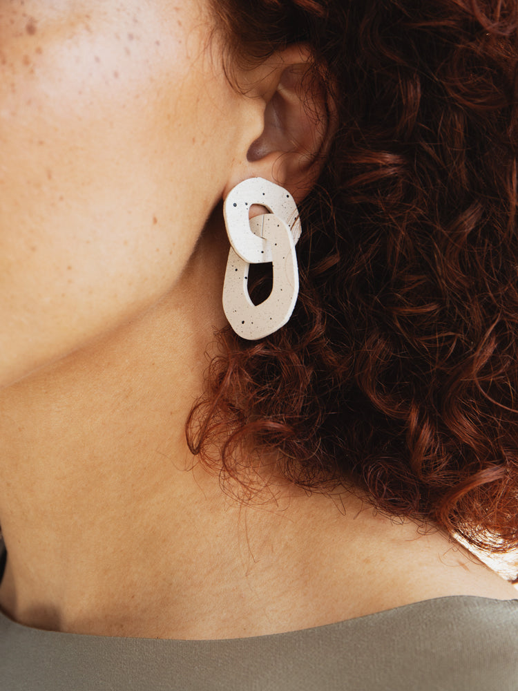 Rosa Earrings in Eggshell