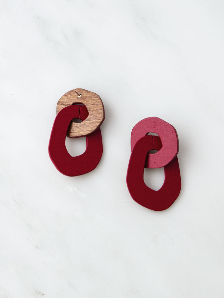Rosa Earrings in Ruby