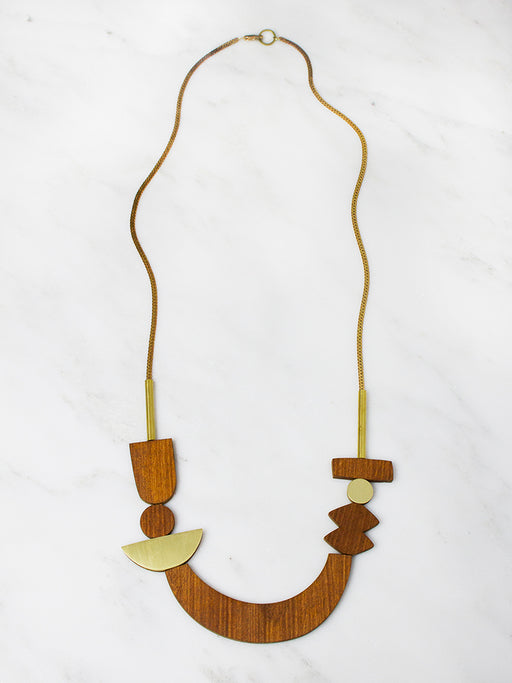 Wood Sculpture Necklace by Wolf & Moon