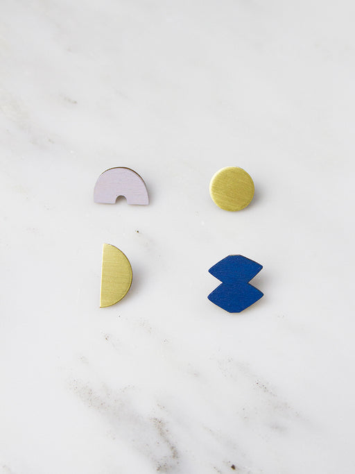 Lavender Blue Sculpture Studs by Wolf & Moon