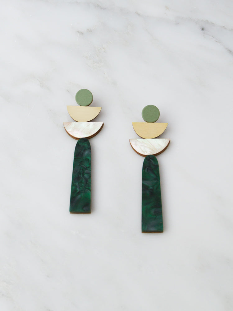 Selene Earrings in Green Marble