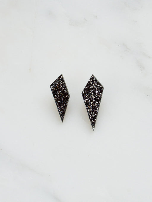Shard Studs in Black Glitter