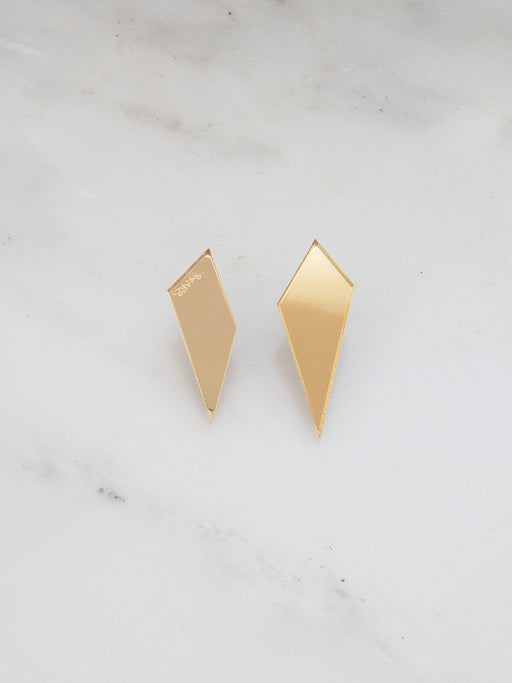 Shard Studs in Gold Mirror