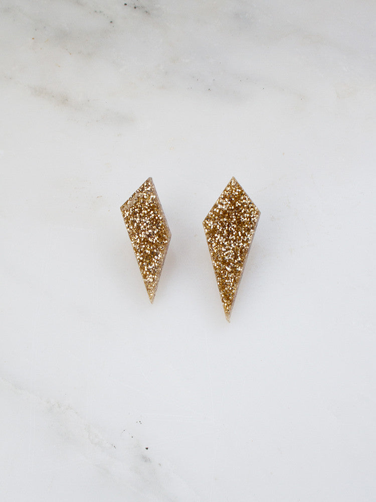 Shard Studs in Gold Glitter
