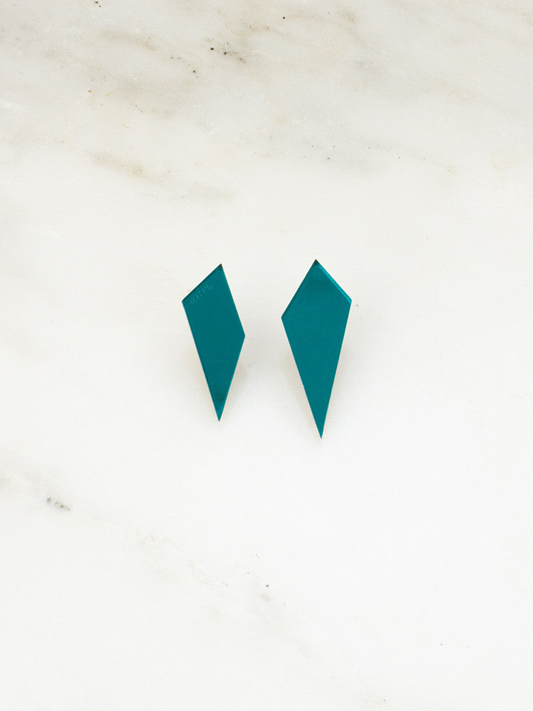 Shard Studs in Teal Mirror