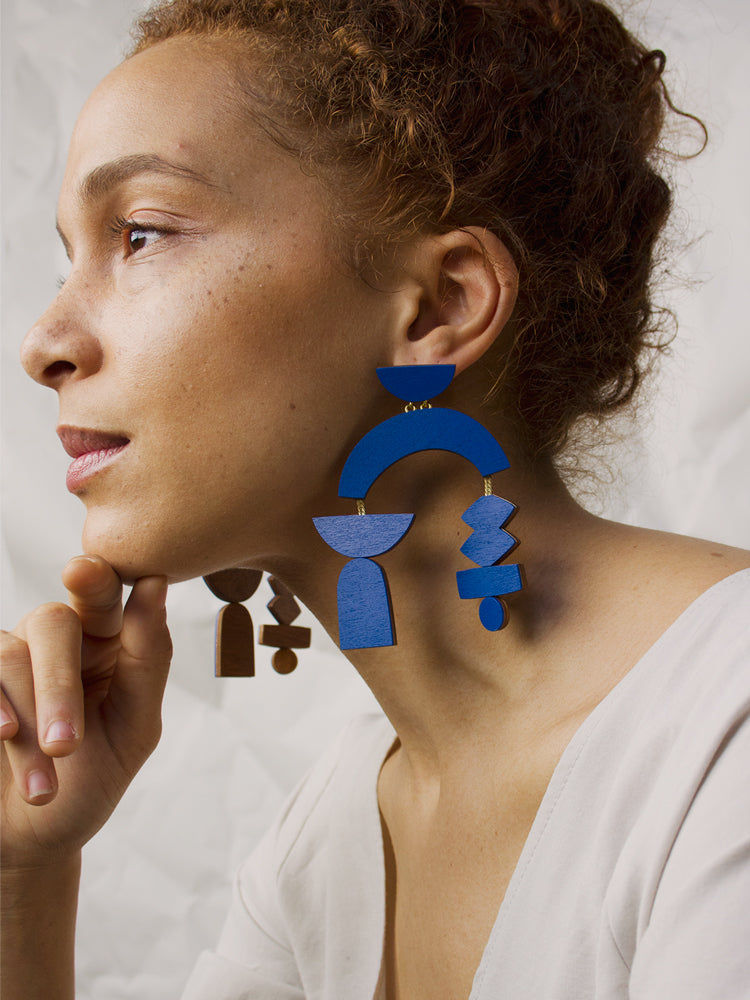 Silhouette Earrings in Cobalt Blue
