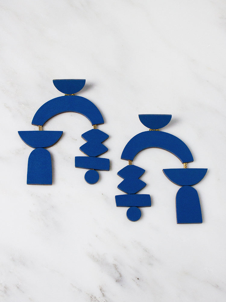 Cobalt Blue Silhouette Earrings by Wolf & Moon