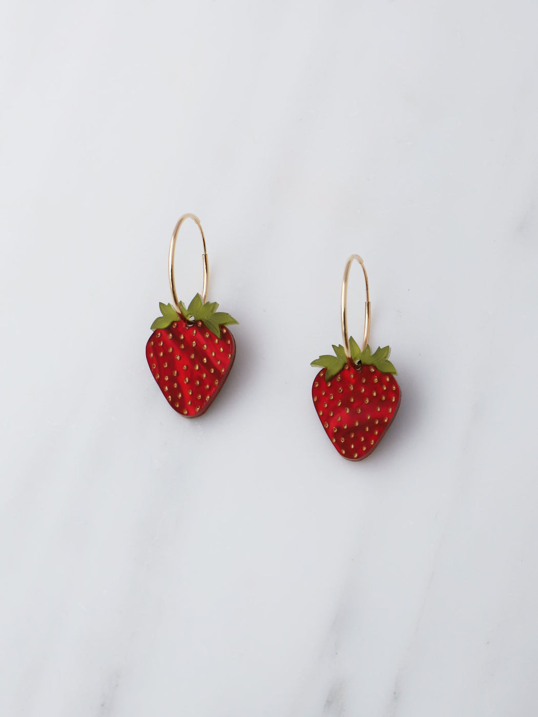 Strawberry Hoops in Gold. Statement jewellery, handmade in the U.K. by Wolf & Moon.