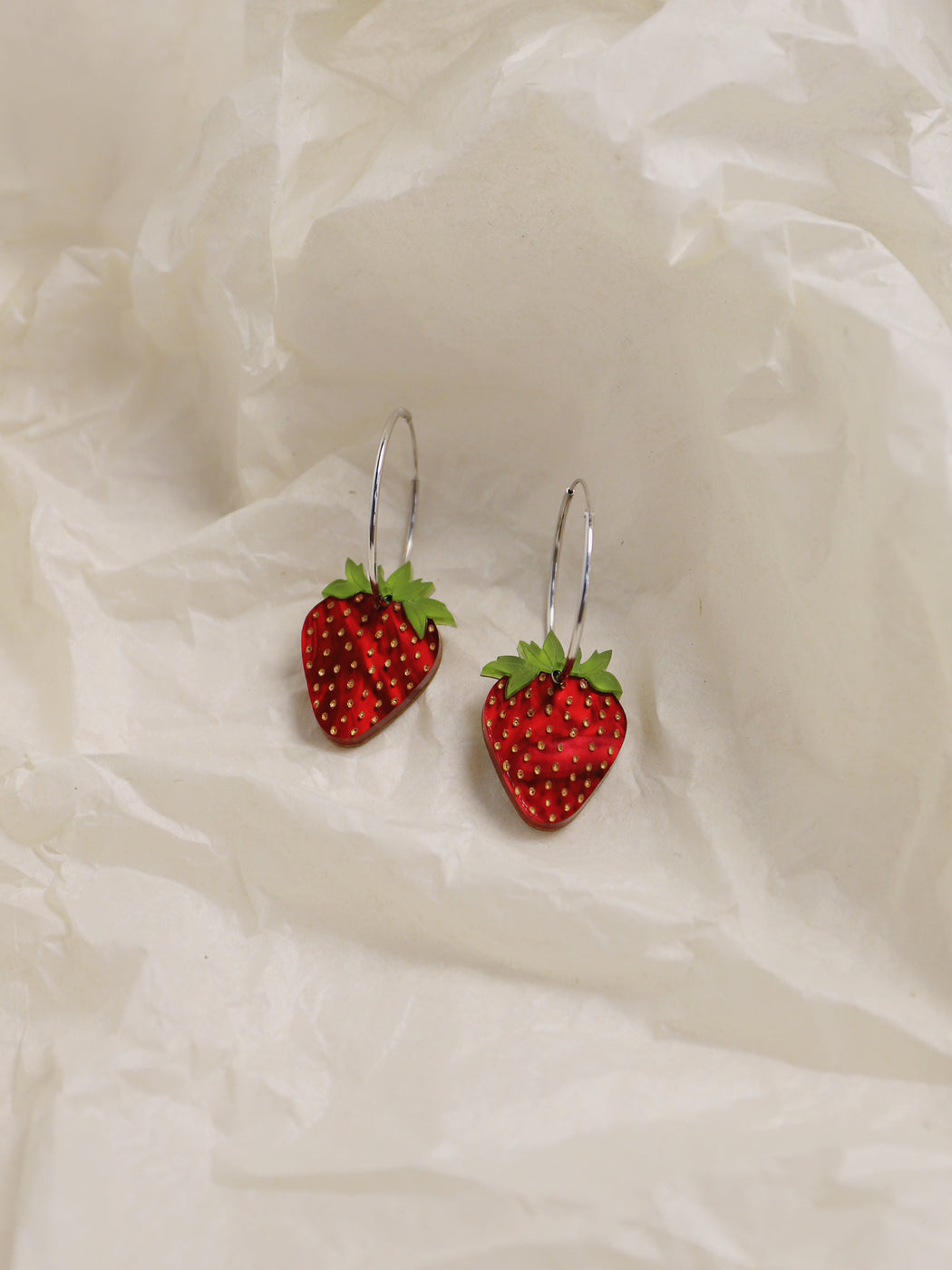 Strawberry Hoops in Silver. Statement jewellery, handmade in the U.K. by Wolf & Moon.